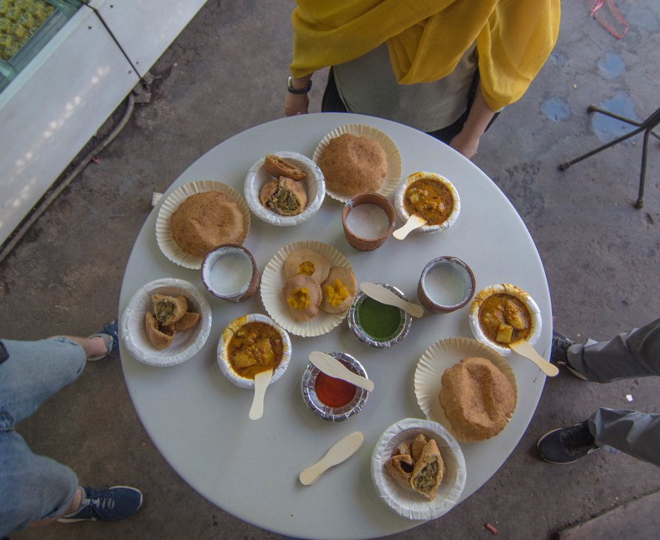Starting food tasting in Old Delhi with lassi, halwa, puri , kachori and samosa