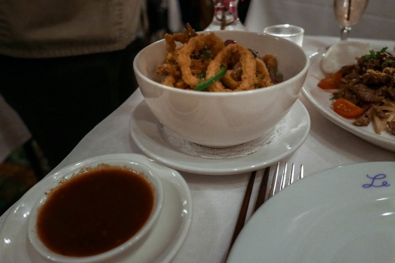 Muc Chien-Calamari, caramelized onion, jalapeno, tamarind dip  ($12)