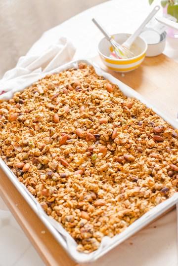 Tahini Cardamom and Maple Granola