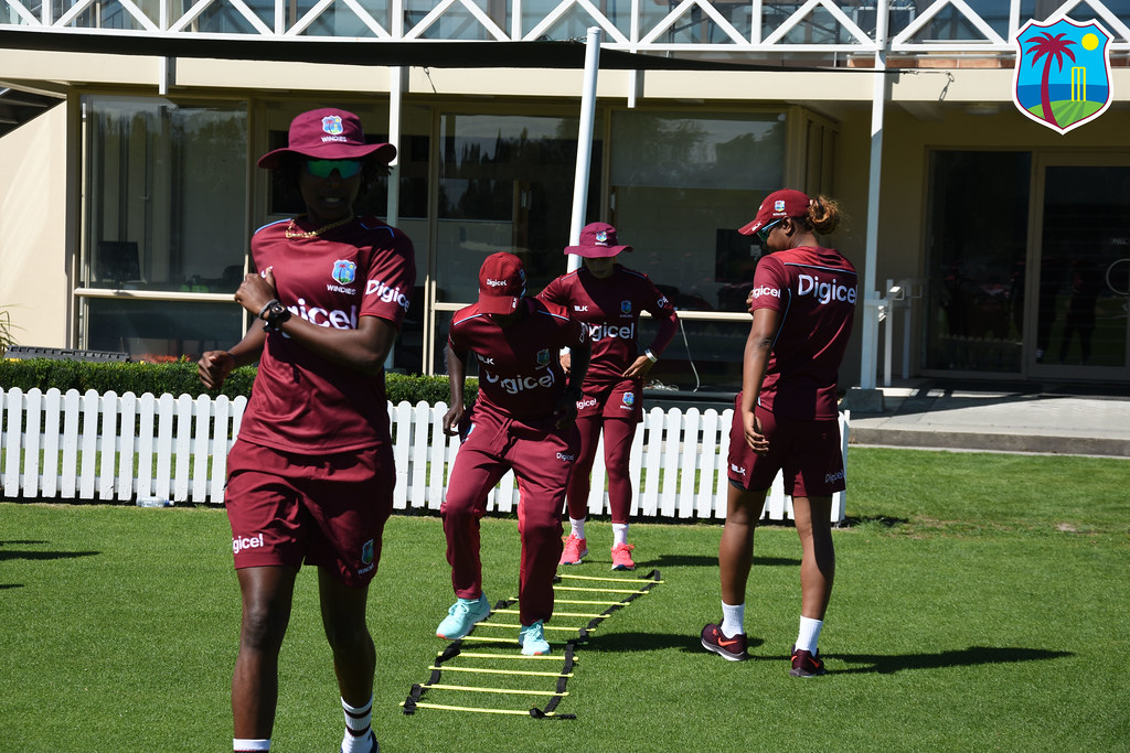 WINDIES Women warm-up before training
