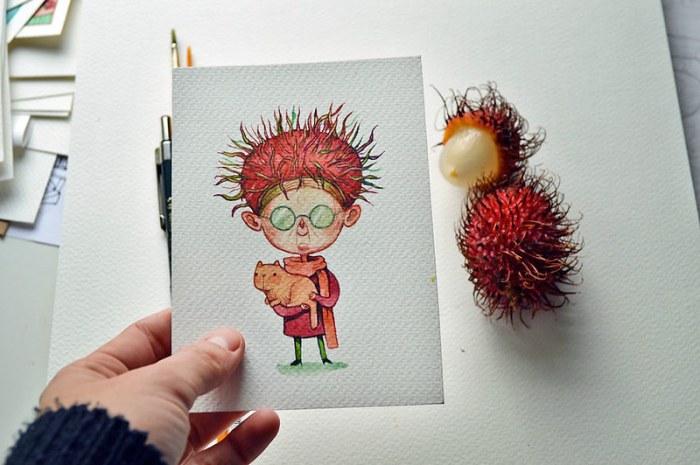 Мария Тиурина. Портреты овощей и фруктов.