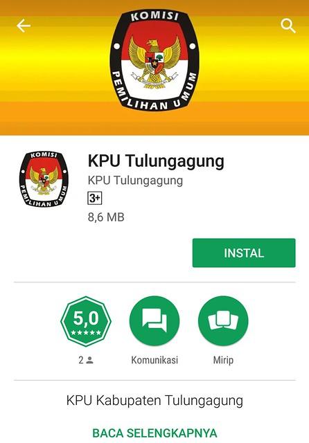 Tampilan Aplikasi KPU Tulungagung berbasis Android, yang dapat di download di google play store (13/3)