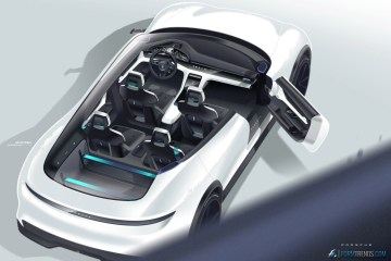 Porsche Mission E Cross Turismo cutaway sketch by Salar Vakili
