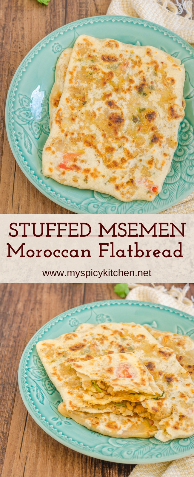 Stuffed Msemen Pinterest long pin
