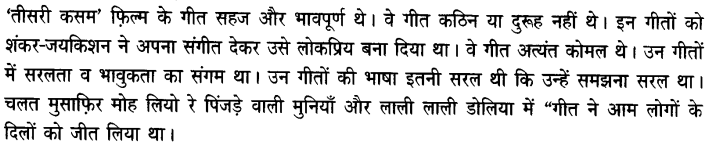 Chapter Wise Important Questions CBSE Class 10 Hindi B - तीसरी कसम के शिल्पकार शैलेंद्र 12a