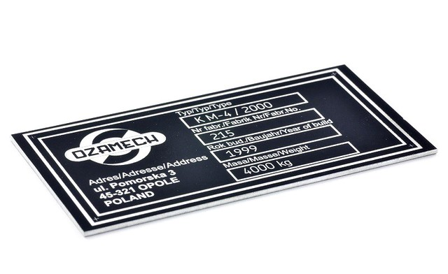 Tabliczka znamionowa aluminium anodowane