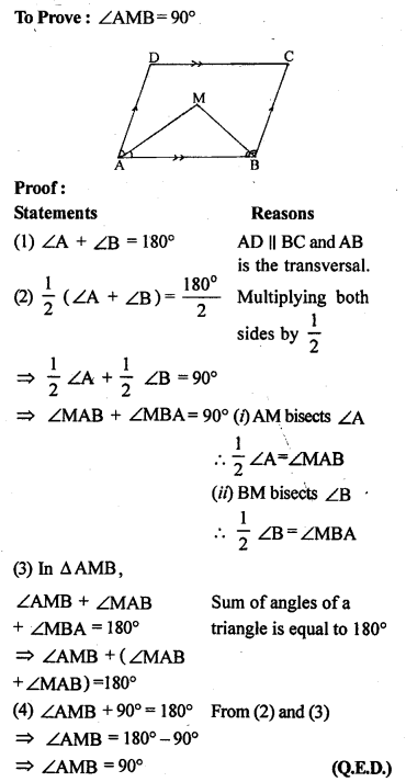 ML Aggarwal Class 9 Solutions for ICSE Maths Chapter 13 Rectilinear Figures  ex 11a