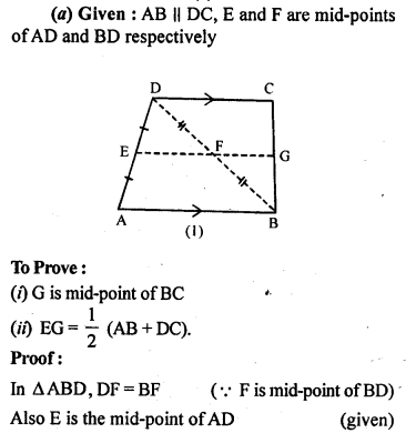 ML Aggarwal Class 9 Solutions for ICSE Maths Chapter 11 Mid Point Theorem    10a