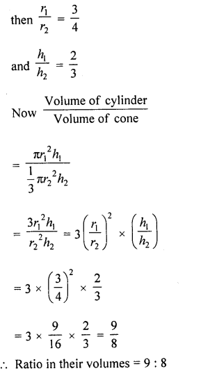 RD Sharma Class 10 Solutions Chapter 14 Surface Areas and Volumes  VSAQS 1