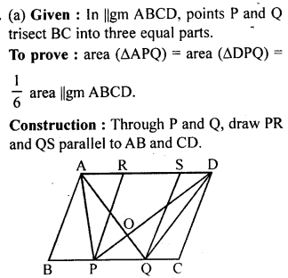 ML Aggarwal Class 9 Solutions for ICSE Maths Chapter 14 Theorems on Area     11a