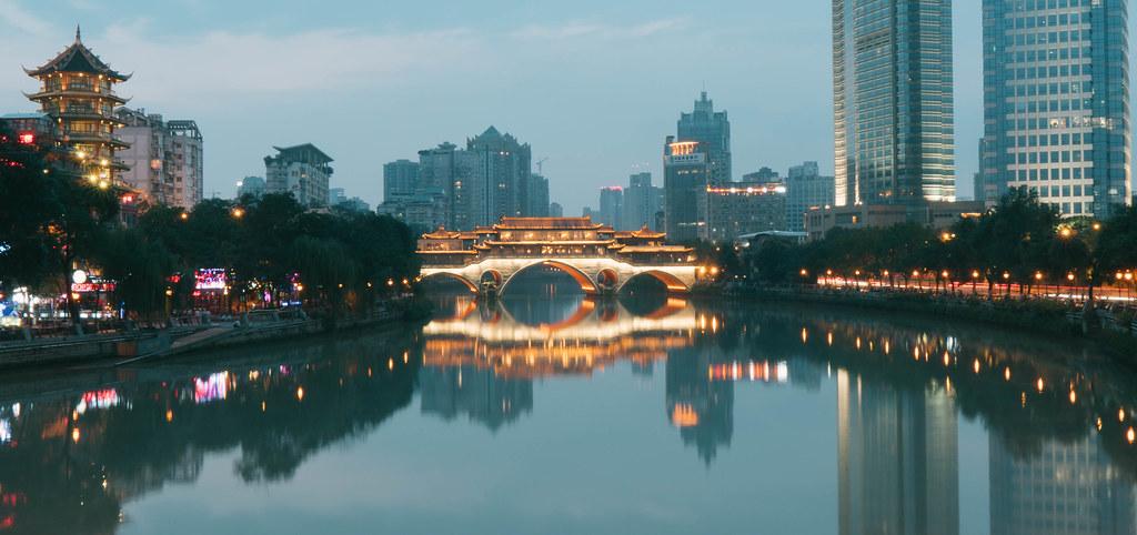 Nine-eyed bridge (Jiuyan Bridge) (九眼橋) in Chengdu, Sichuan