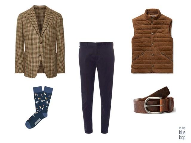 Smart casual con chinos azules, blazer de tweed, calcetines, cinturón nublo de blue hole y chaleco gilet