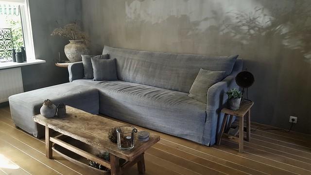 Woonkamer landelijk sober interieur