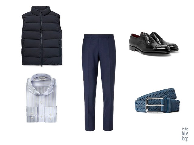 Look élégant et décontracté avec gilet, chaussures oxford noires, pantalons de costume, chemise à rayures bleues et ceinture bleue