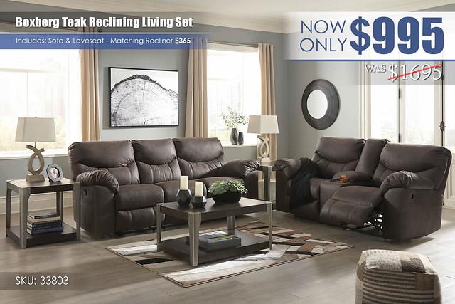 Boxberg Teak Reclining Living Set_33803