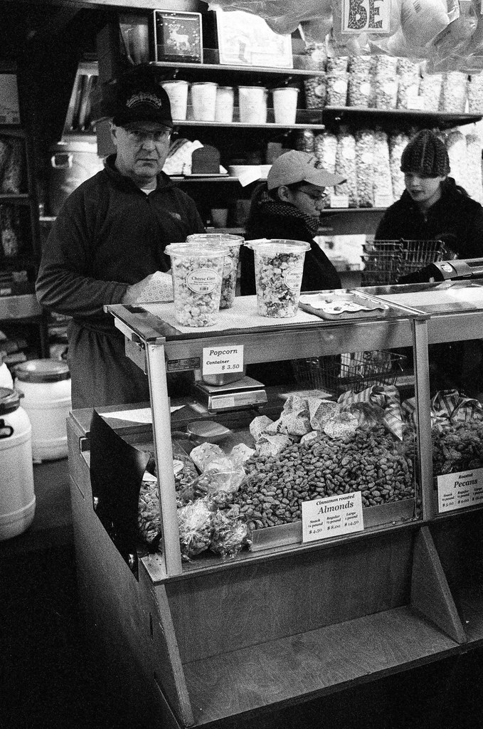 Selling nuts at Christkindlmarkt