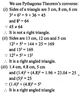 ML Aggarwal Class 9 Solutions for ICSE Maths Chapter 12 Pythagoras Theorem     1