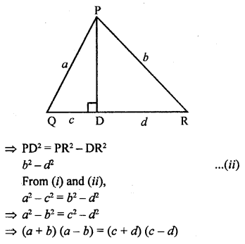 ML Aggarwal Class 9 Solutions for ICSE Maths Chapter 12 Pythagoras Theorem     11s