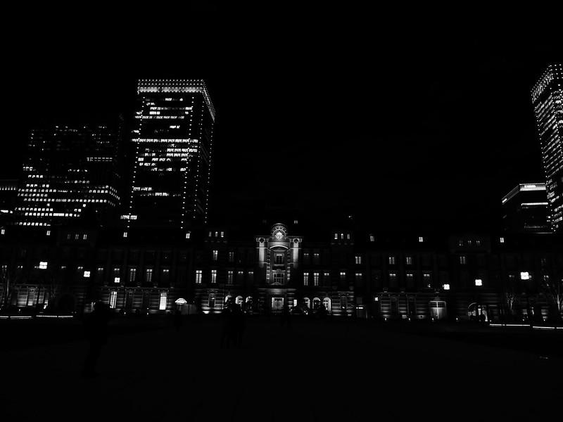 dinamic monochrome Tokyo Station night view