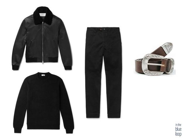 Look casual masculino con cazadora de piel de oveja tipo aviador en negra, chinos negros, jersey negro y cinturón Uga de blue hole