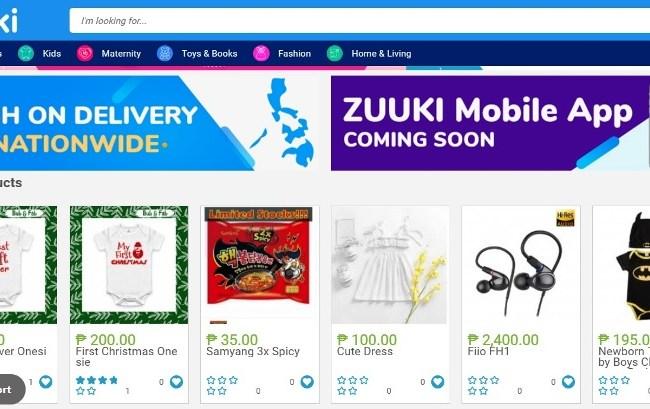 Zuuki Online Shopping Store Categories