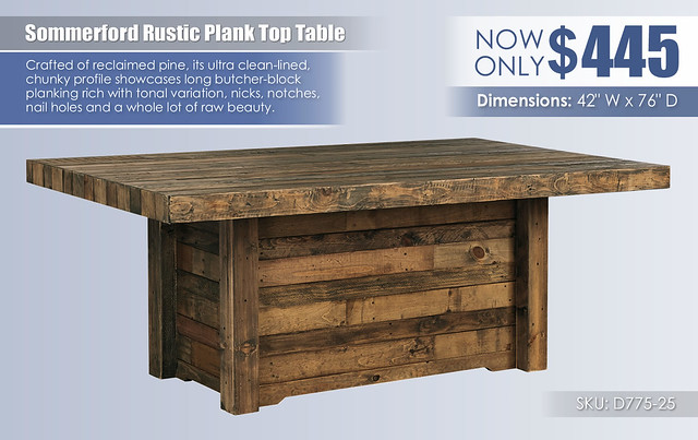 Sommerford Rustic Plank Top Dining Table_D775-25