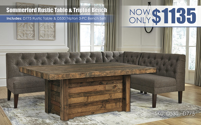 Sommerford Rustic Table & Tripton 3 PC Bench Set_D530_D775