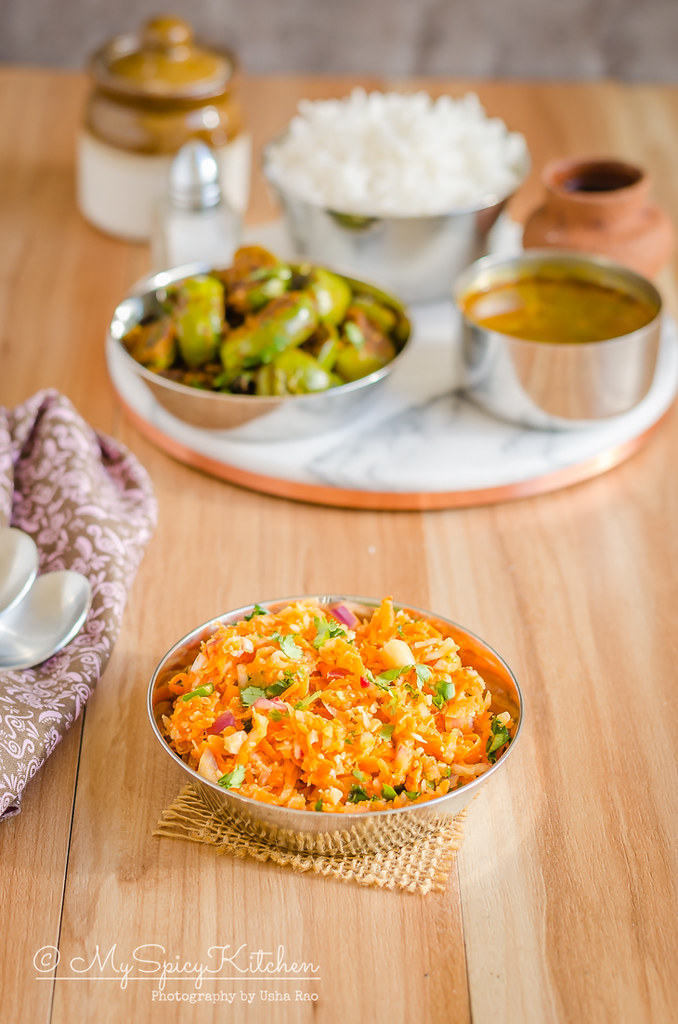 Carrot radish salad or gajar mooli koshimbir is a quick easy and light salad.  It makes a great side dish to serve with grilled food and as an accompaniment to Indian meal.