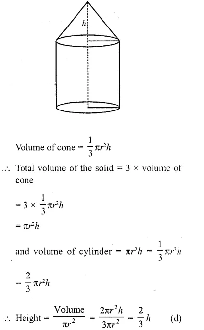 RD Sharma Class 10 Solutions Chapter 14 Surface Areas and Volumes MCQS 30A