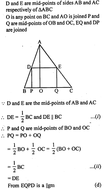 ML Aggarwal Class 9 Solutions for ICSE Maths Chapter 11 Mid Point Theorem    mcq 3