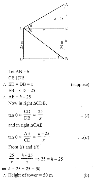 RD Sharma Class 10 Solutions Chapter 12 Heights and Distances MCQS - 9