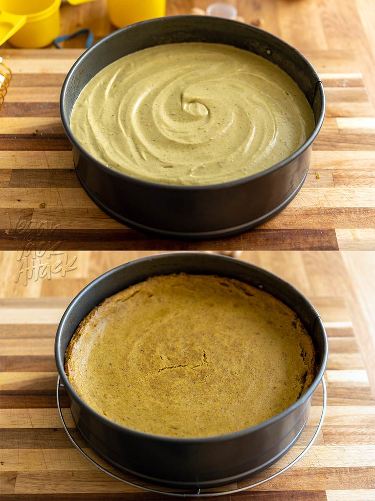 Vegan pistachio cheesecake pre and post baking