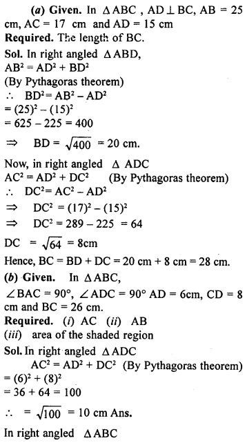 ML Aggarwal Class 9 Solutions for ICSE Maths Chapter 12 Pythagoras Theorem     ch1a