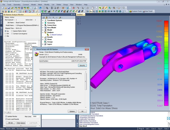 Working with Siemens FEMAP v12.0.1 with NX Nastran x64 full license