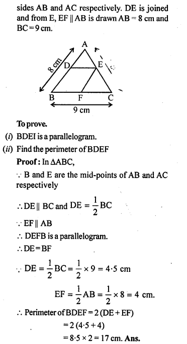 ML Aggarwal Class 9 Solutions for ICSE Maths Chapter 11 Mid Point Theorem    ct 4