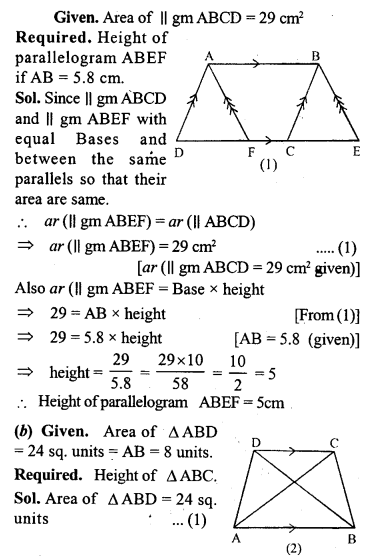 ML Aggarwal Class 9 Solutions for ICSE Maths Chapter 14 Theorems on Area     10a
