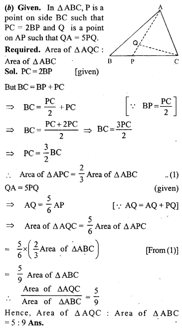 ML Aggarwal Class 9 Solutions for ICSE Maths Chapter 14 Theorems on Area     9b