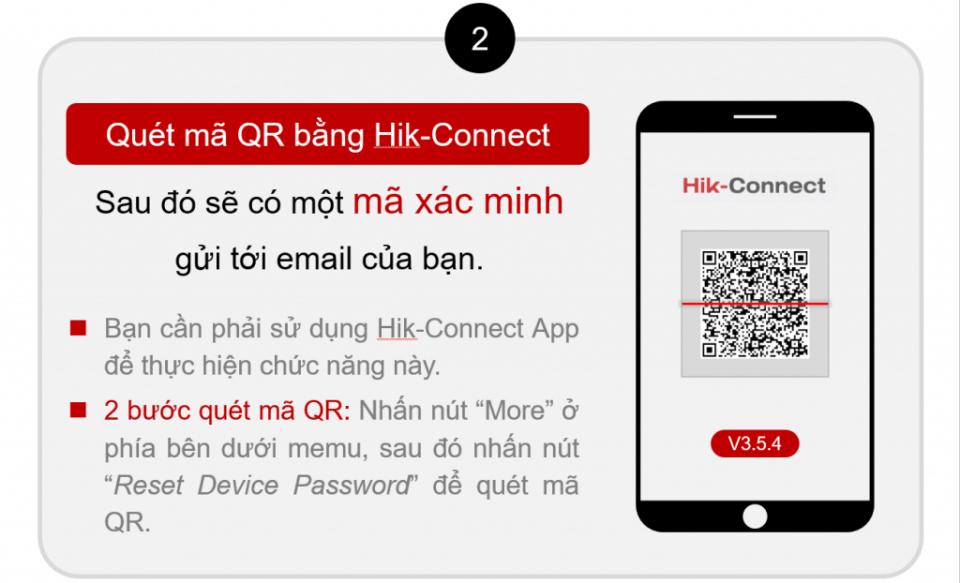 Quét mã QRCode bằng HIK-Connect để tiến hành reset mật khẩu hikvision qua email