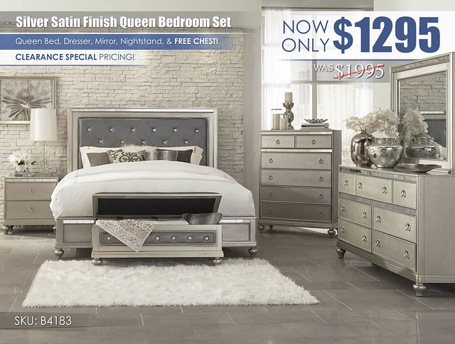 Silver Satin Finish Bedroom Clearance Special_B4183BR