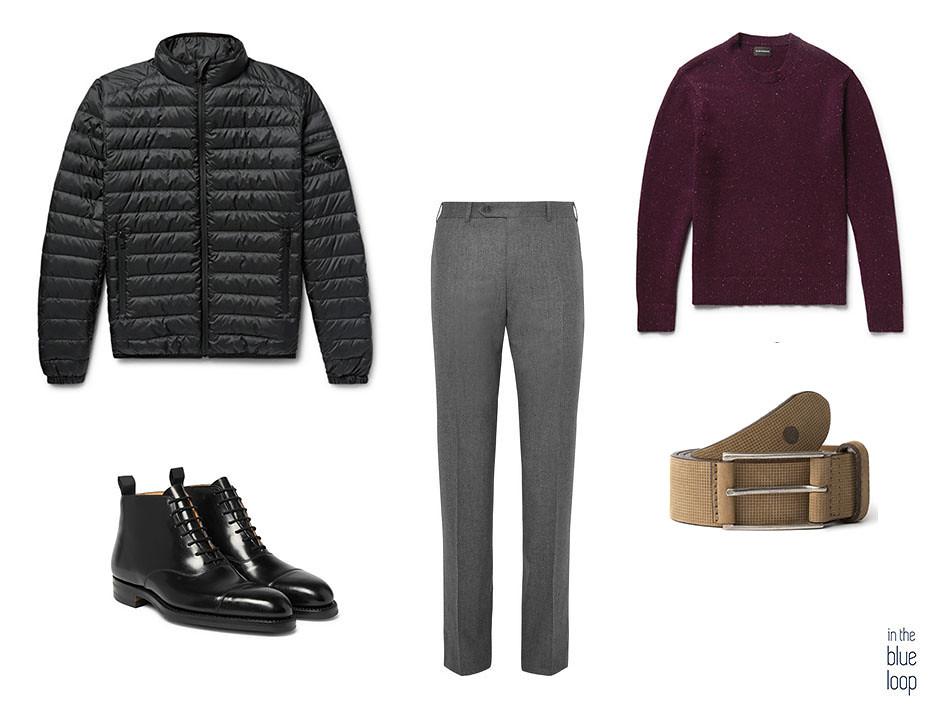 Smart-casual con plumas, cinturón Anaga de Blue Hole, jersey, botas y pantalón de vestir