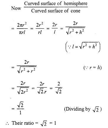 RD Sharma Class 10 Solutions Chapter 14 Surface Areas and Volumes  VSAQS 18