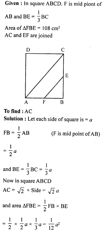 ML Aggarwal Class 9 Solutions for ICSE Maths Chapter 12 Pythagoras Theorem     ch7