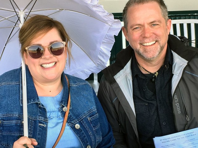 Amy Finke and J.D. Roth watching horse races at Keeneland
