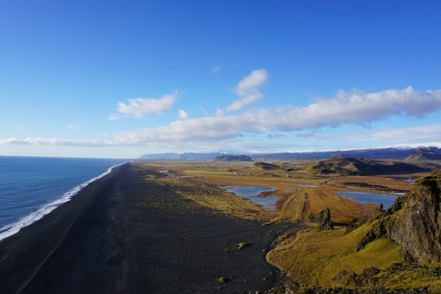 Black sand beach as seen from Dyrhólaey peninsula, Southern Iceland