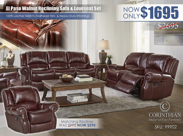 El Paso Walnut Reclining Living Set_99902
