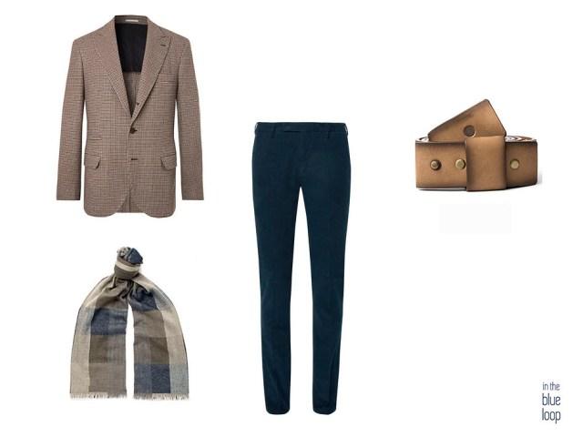 Chinos azules, blazer, cinturón famara de blue hole y bufanda en look smart casual