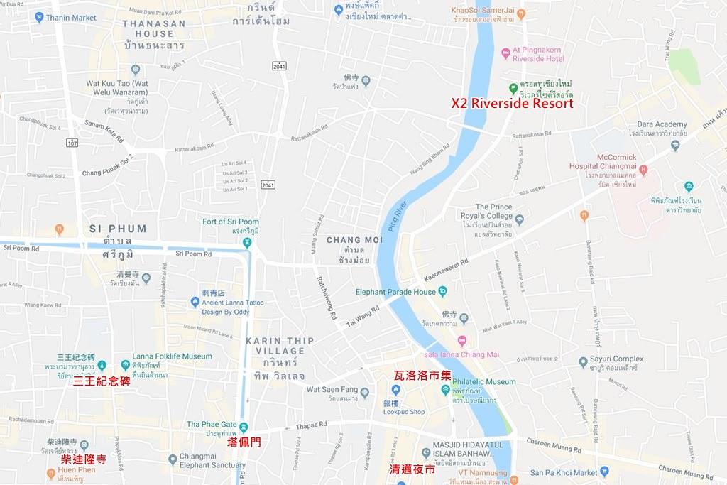 X2 Chiangmai Riverside Resort Map