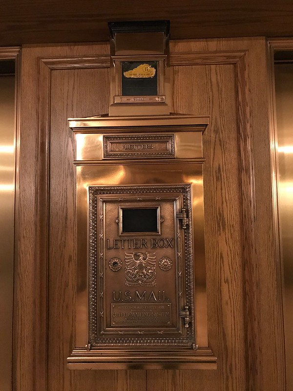 Mail chute at the Drake in Chicago