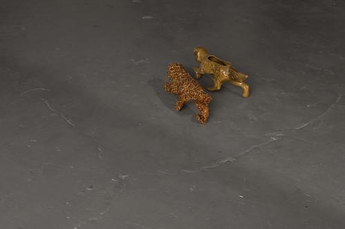 ceramic dog flower pot, crushed chili pepper, clear gesso