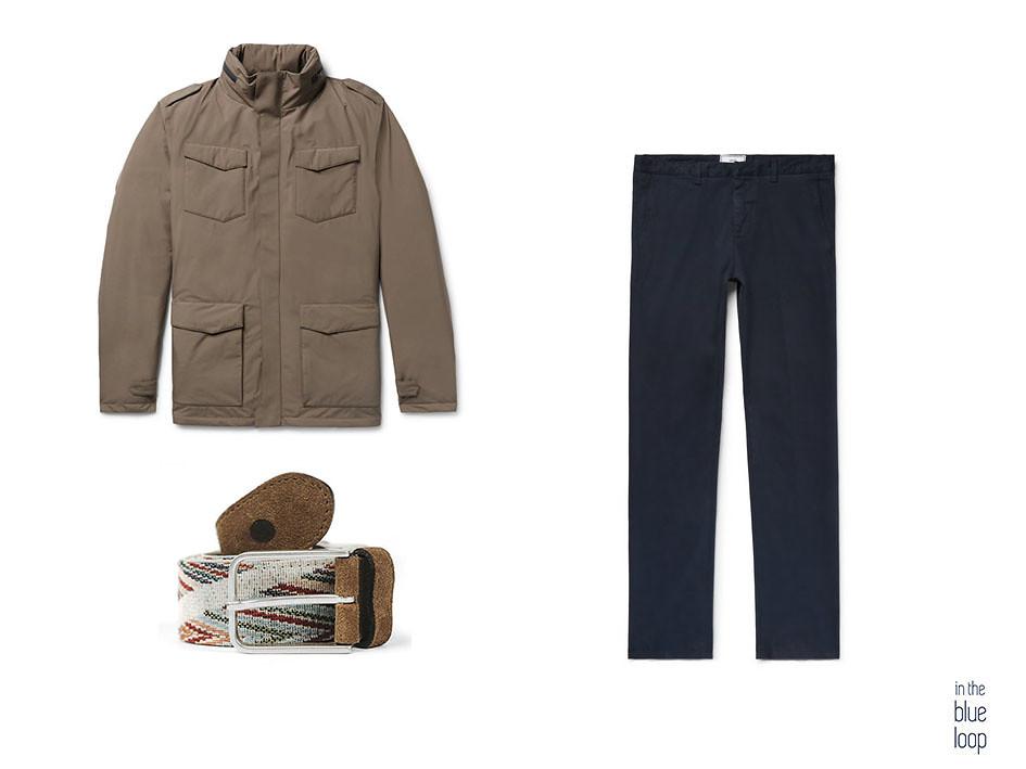 Look masculino con cinturón Arure de blue hole, chinos azules y plumas marrón